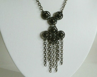 Bold Handmade Circular Geometric Brutalist or Modernist Style Necklace with Chain Fringe- Tassel Dangle Silver Tone Handmade