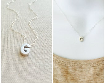 Small Initial G Necklace, Silver Initial Necklace, Sterling Silver Chain, Letter G Charm Necklace, Letter G Pendant, Everyday Necklace