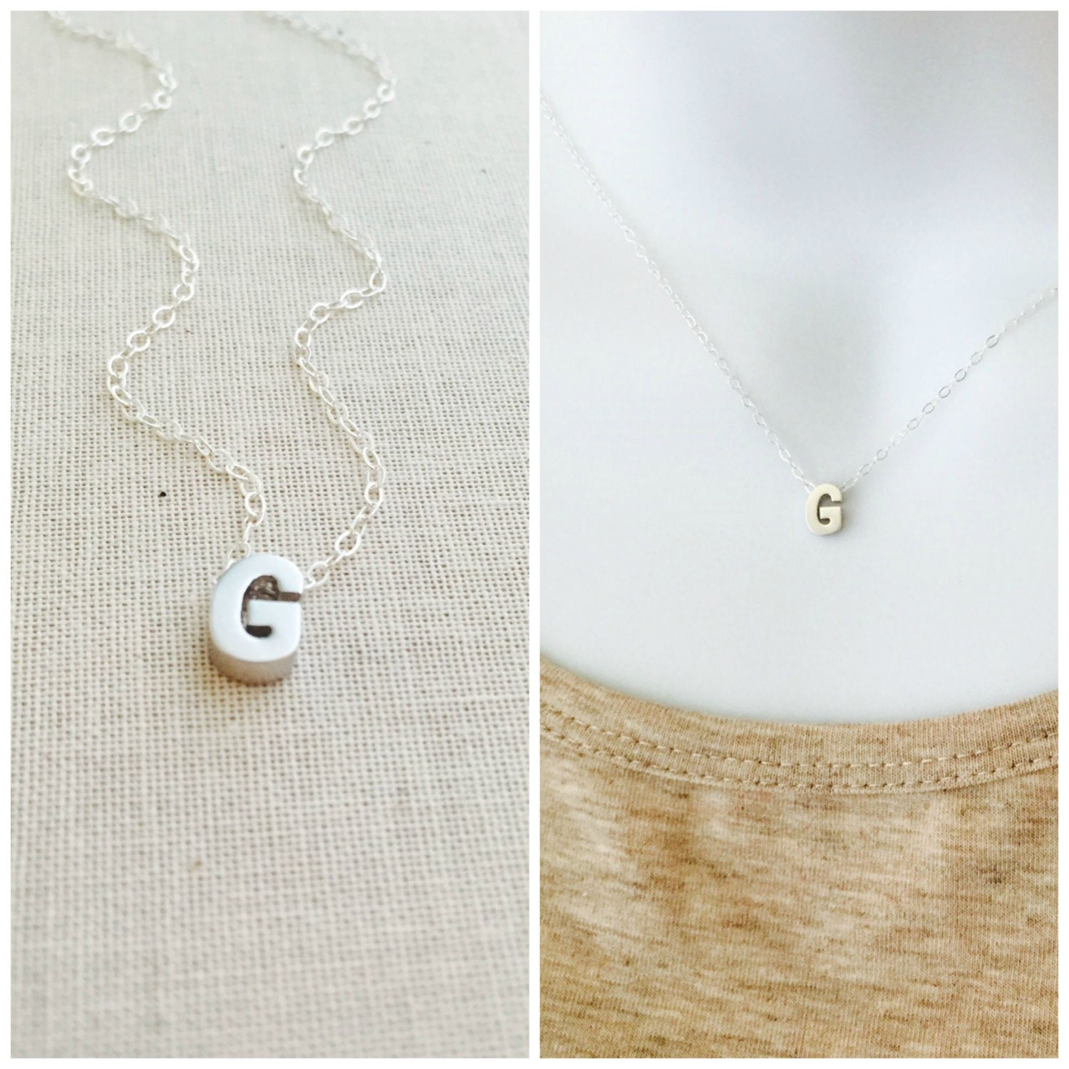 small initial g necklace silver initial necklace sterling silver chain letter g charm necklace letter g pendant everyday necklace