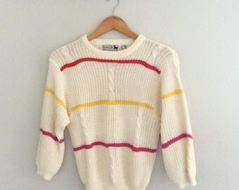 Vintage Sweater Striped Jumper Pull Over Knitted Jersey Tennis 80s 90s Boho Hippie Festival Size Small Medium Preppy