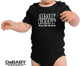Funny Baby Clothes, Army Brat Pee All That You Can Pee, Military Baby, Newborn Baby Girl, Newborn Baby Boy, New Baby Outfit, New Baby Gift