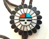 Native American Tribal Sun Face Bolo Tie with Sterling Silver Tassels, Zuni Tribe Jewelry, Native American, Southwestern Bolo, Face Bolo