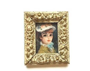 Miniature Painting of A 1950's Woman - My Fair Lady, Home Decor, Painting, Art, For Her, Wall Decor, For Bedroom, Girl WIth Flower Hat