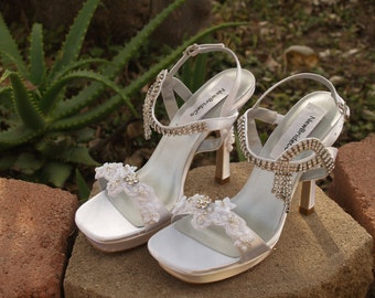 4 inch HIGH heels Wedding Shoes Rhinestones crystals, beaded lace,Silver Bling Crystals, Open Toe Sandal Platform Heels, White Satin,