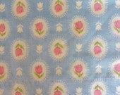 Handmade Feed Sack Pillowcase, Blue and White with Pink Tulips, Standard Size Pillowcase