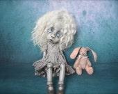 Giclee Fine Art Print. Dark Alley BJD Art Doll with a Pink Bunny.