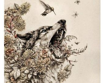 Thorn - Limited Edition fine art print- large poster print - 16 x 20 wolf animal artwork