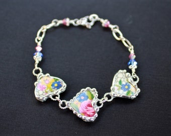 Bracelet, Broken China Jewelry, Broken China Bracelet, Heart Charms, Pink and Blue Floral Chintz, Sterling Silver