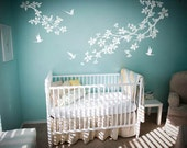 Nursery Wall Decal Cherry Blossom Tree Branch Stickers Floral Decals Birds Bedroom Living room Flower Mural Removable Vinyl Sticker Nature