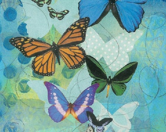 Butterflies art print instant download original collage art