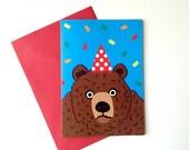 Party Animal Bear Birthday Card, funny bear birthday card, grumpy bear card, party invitation card, grizzly bear card, illustrated bear card