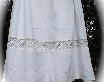 Victorian Style Romantic Sugar White  French Style Skirt L/XL