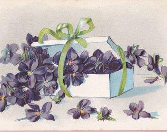 """Ca. 1908 """"Violets"""" Embossed Friendship Greetings Postcard - 2260"""