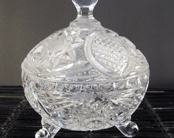 Vintage 70's footed cut glass candy dish and cover