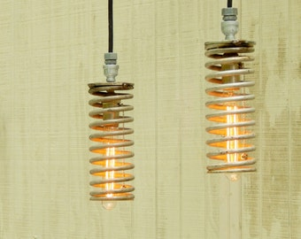 Hanging Industrial Pendant Pair Spring Lights - Industrial Silver Springs Upcylced to Pendant Lights