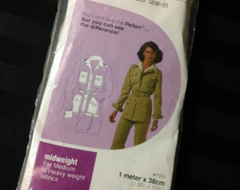 Vintage Pellon Midweight Polyester Interfacing in Original Retro Package  No. P930 Still Sealed 1 meter x 38cm