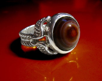 Flying natural eye agate wing ring  - solid sterling silver