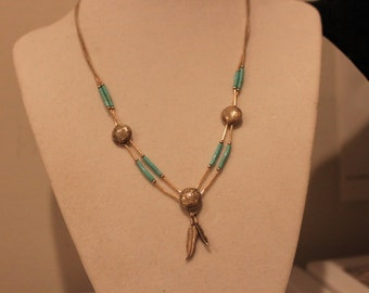 Southwestern Turquoise & Liquid Sterling Necklace, Hallmarked