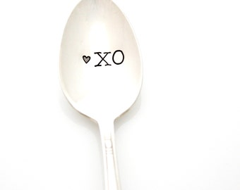 XO hand stamped tea spoon. Unique Valentine's Day gift idea under 20. XOXO handstamped spoon.