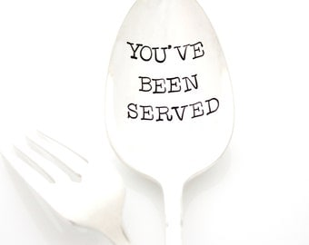 Stamped serving spoon, You've Been Served. Hand Stamped Holiday Table Decor by Milk & Honey. Thanksgiving, Christmas, Sunday Dinner.