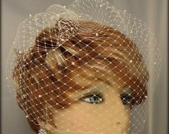 Wedding Birdcage Veil, Pearl Accent Veil, 12 Inch Veil, Birdcage Veil, REX1009-P 12