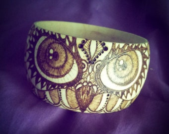 Wood Burned Owl Art Bangle Handmade One of a Kind made to order Pyrography