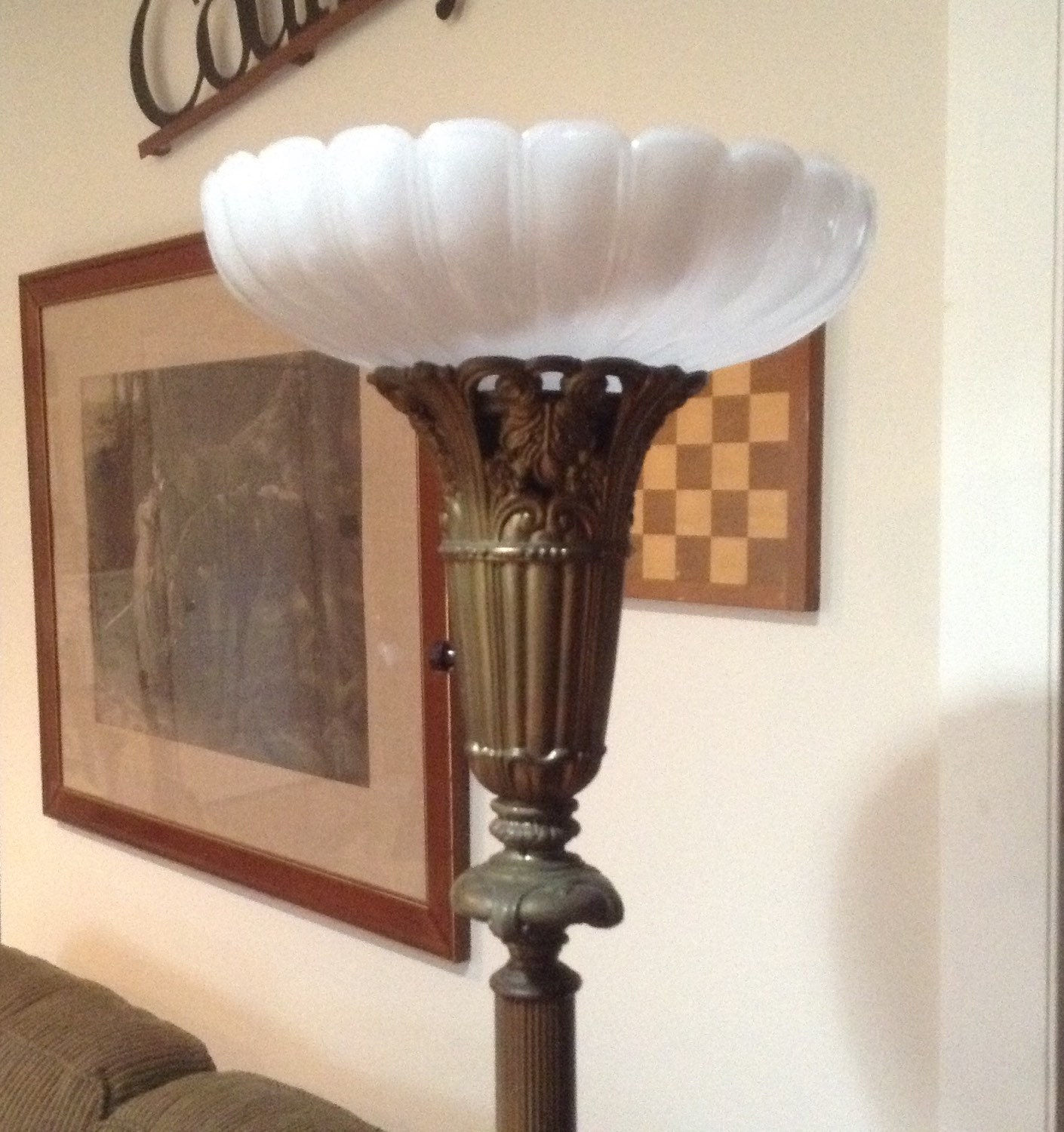 vintage torchiere floor lamp brass with marble base choice of. Black Bedroom Furniture Sets. Home Design Ideas