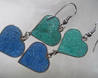 Vintage Alpaca Silver Double Heart Earrings with Green and Blue Stone Inlay