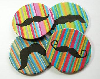 Mustache Coasters, Drink Coasters, Coasters, Tableware, Rainbow, Mustache, Gift for Him, Movember, Barware, Beer Coasters, Gay Pride (5100)