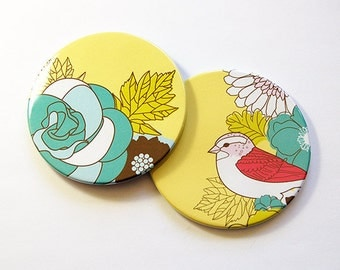 Coasters, Flower Coasters, Bird Coasters, Drink Coasters, Barware, Set of Coasters, Hostess Gift, Housewarming Gift, Yellow (5190d)