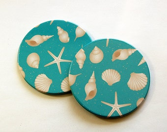 Beach Coasters, Beach house decor, Coasters, Set of Coasters, Drink Coasters, Hostess Gift, shells, Starfish, Turquoise, Blue (5197)