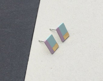 SALE / Porcelain square stud earrings-pastel pink, sky blue, gold small geometric post earrings 9 mm studs, gift for her