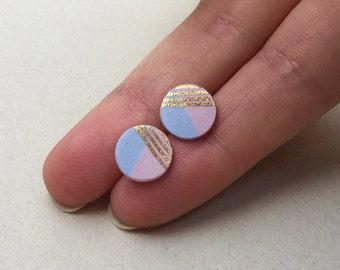 SALE / Porcelain medium dot stud earrings- light pastel baby pink and blue geometric post earrings studs, gift for her, porcelain earrings