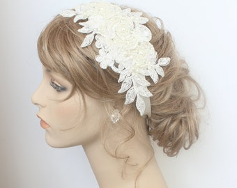 Lace Bridal Headband-Bridal Hair Accessory-Pearl Bridal Hairpiece-Lace Bridal Comb-Ivory Bridal Hairpiece-Bridal Shimmer no Sparkle Headband