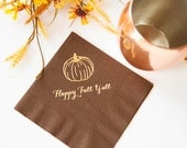 Happy Fall Y'all Beverage/Cocktail Napkins - Ready to Ship - Set of 20