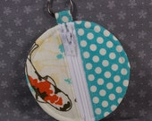 Round Zip Coin Purse for Earbuds or Change -- Blue with Koi (small)