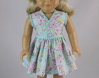Floral wrap dress with pom pom trim & headband for American Girl Doll
