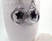 Chainmaille Mobius Flower and Black Crystal Stars Earrings