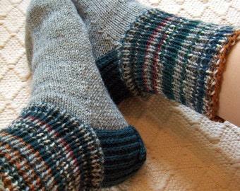 Big size mens BOOT SOCKS gray with petrol green blue brown Hand knitted Warm Durable Cozy wool Gift idea Handmade in  FINLAND