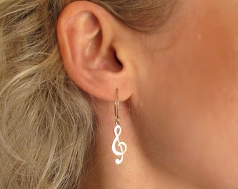 Musical Notes Earrings - Gold Filled Treble Clef Earrings - Dainty earrings - Musical Note Jewelry - Gift For Her - Graduation Gift