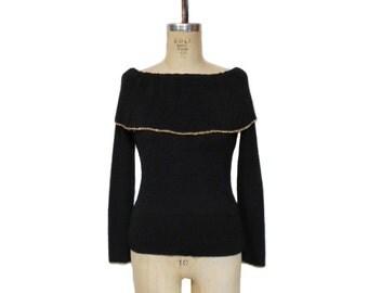 vintage 1970s GOLDWORM off shoulder sweater / black gold / wool blend / 60s 70s sweater / women's vintage sweater / size 14