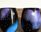 Hand Painted Wine Glasses - Galaxy Stemless Wine Glasses - Gift Idea
