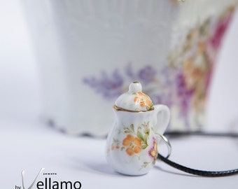 Delicate flowery teapot / coffee pot pendant, porcelain, fashion pendant and black chord necklace, small teapot with flowers pattern