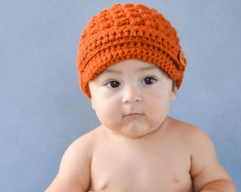 Crochet  Baby Hat Newsboy Burnt Orange Pumpkin  visor brim photo prop infant child