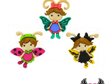 Jesse James Buttons 3pc FLUTTER BUGS Little Girl Fairy Buttons OR Turn them Into Flatback Decoden Cabochons