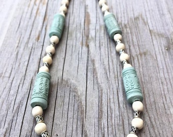 CLEARANCE Light Turquoise Terra Cotta Bead, Wood Bead, Metal Bead, 19 inch, Necklace