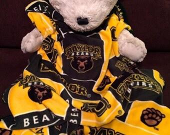 Baylor Bears College Block Fleece Football Sports Baby Blanket 30X36