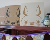 Sale***Totoro inspired Screenprinted card- Beige ink on Ivory, Was 3.00
