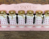 Vintage Pink Spice Rack, Upcycled Wood spice rack, Shabby Cottage chic spice rack, Hand painted  spice rack