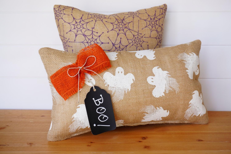 Burlap Halloween Pillows Ghosts Spiders Halloween Decor